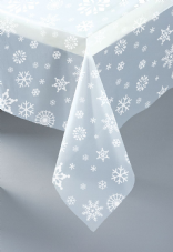 Clear Snowflakes Party Plastic Tablecover
